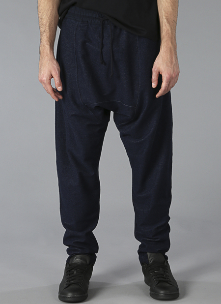 Grei Knit Denim Drop Rise Sweatpants In Midnight Blue