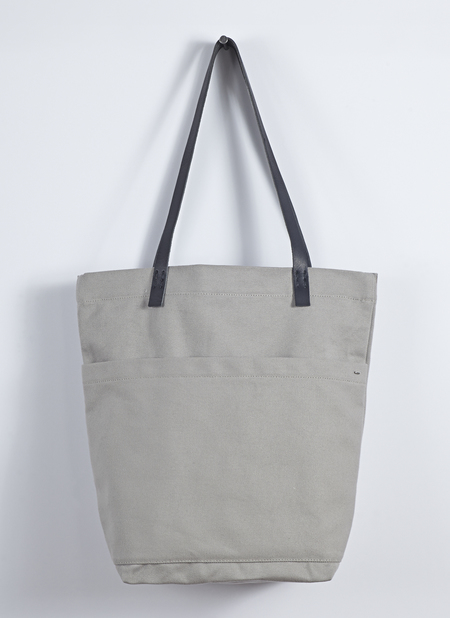 Unisex Grei Heavy Canvas Market Bag In Putty