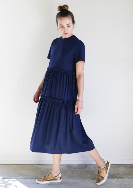 Creatures of Comfort Tiered T-Shirt Dress in Navy