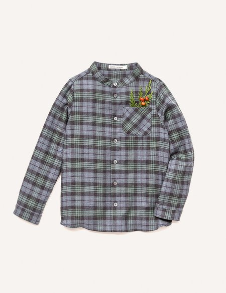 Kids Petits Vilains Clothier Roman Stand Collar Shirt - Green Plaid