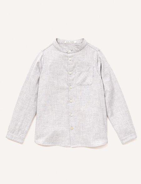 Kids Petits Vilains Clothier Roman Stand Collar Shirt - Heather Grey