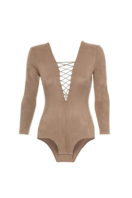 Alexander Wang Stretch Faux Suede Long Sleeve Lace-up Bodysuit