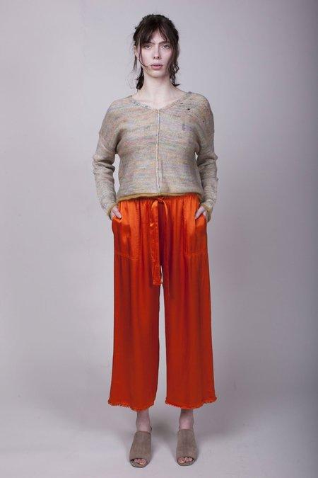 Raquel Allegra Pebble Satin Paper Bag Pants - Poppy