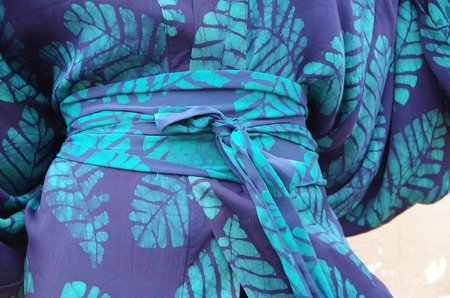 Studio One Eighty Nine Green Leaf Cotton Hand-Batik Obi Belt