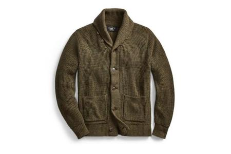 RRL Shawl Cardigan - Cotton Olive Heather