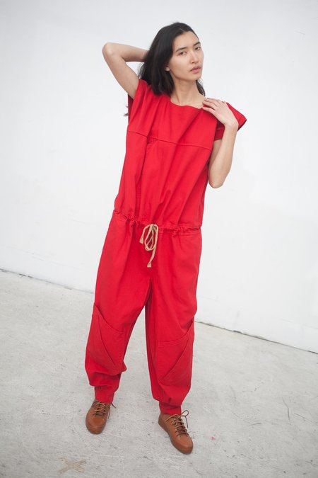 Electric Feathers Accomplice Jumpsuit in Duck Red