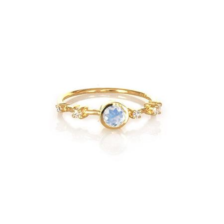 LA KAISER RAINBOW MOONSTONE AND DIAMOND CONSTELLATION RING