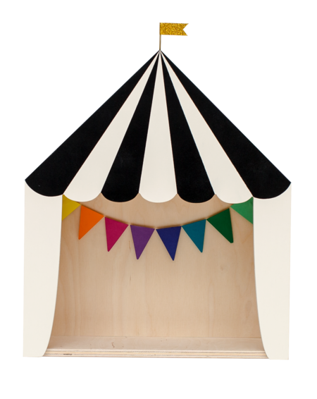 """Kid's Up! Warsaw """"The Big Top"""" Circus Shelf Black & Wooden"""