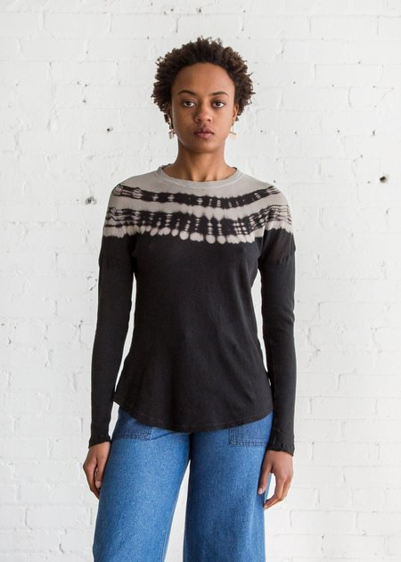 Raquel Allegra Long Sleeve Basic Tee - Black Tie Dye